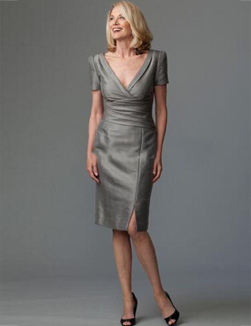 2016 Cap Sleeve Taffeta Short Grey Sheath Mother Of The Bride Dress ...