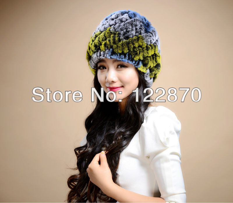 Rex rabbit hair real fur hat autumn winter cap female Korean stretch wool thick warm - Standing proudly snow store