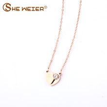 Coeur Collier Pour Les Femmes collier en acier inoxydable Pendentifs Bijoux Tour de Cou Bijoux Femme Collares Amour Zircon(China)