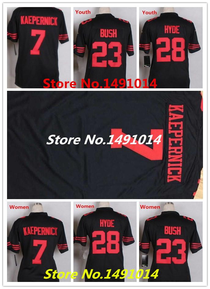 Women's San Francisco #23 Youth Reggie Bush Black jerseys Kids football 49er Jerseys(China (Mainland))
