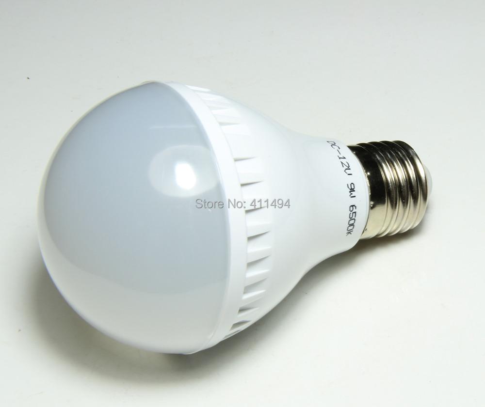 1Piece High brightness Solar LED Bulb Lamp E27 27led 2835SMD 9W DC12V Cold white A179 - Wellled store