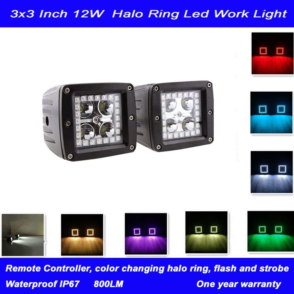 "A Pair 3"" Led Cubes Off Road with Halo Ring Morph 8 Colors by Remote for 4WD ATV Military Offroad Auxiliary Driving Fog Lamp(China (Mainland))"