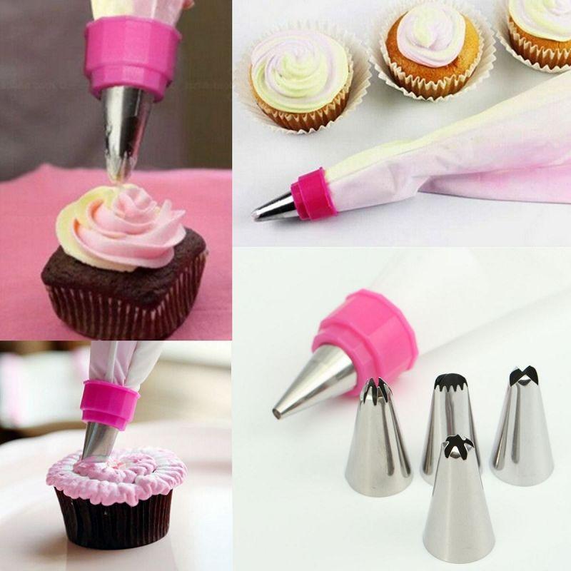 Cake Fondant Pastry Icing Cream Decorating Bag Piping Nozzles 6 Coupler S(China (Mainland))