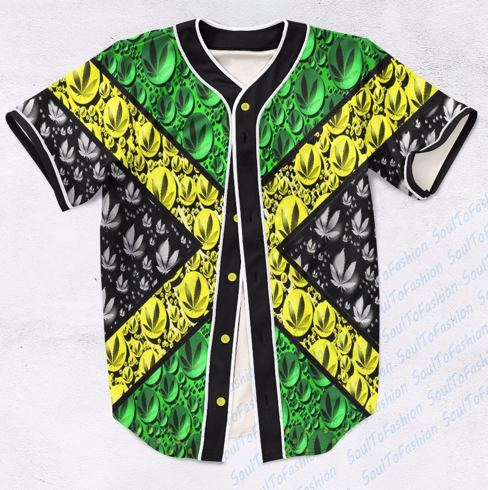 Real USA Size Custom made Fashion 3D Sublimation Print jamaica 420 Baseball Jersey Plus Size(China (Mainland))