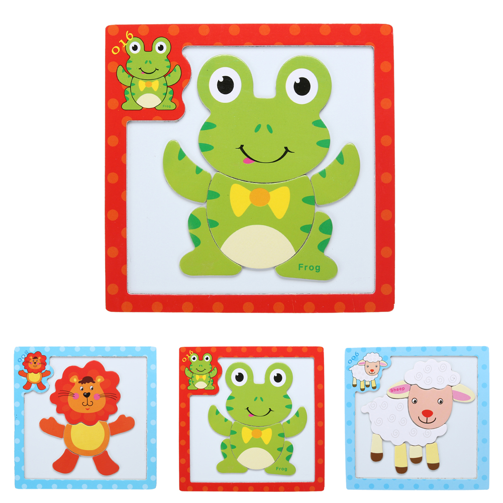 Magnetic Jigsaw Puzzle Wooden Board Children Developmental Cartoon Sheep Lion Frog Animals Puzzle Jigsaw Toy Gift for Kids(China (Mainland))