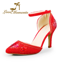2016 red High Heeled Thin Heel Pumps Pearls Crystal Rhinestone Pointed Toe Wedding Shoes Party & Evening Dress Stiletto Heel(China (Mainland))