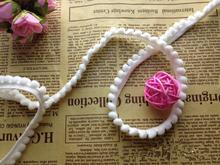 Wholesale Fashion 50 yards White Lace pompom ribbon Trim ball size 10mm pom pom fringe cintas pompones fringe sewing(China (Mainland))