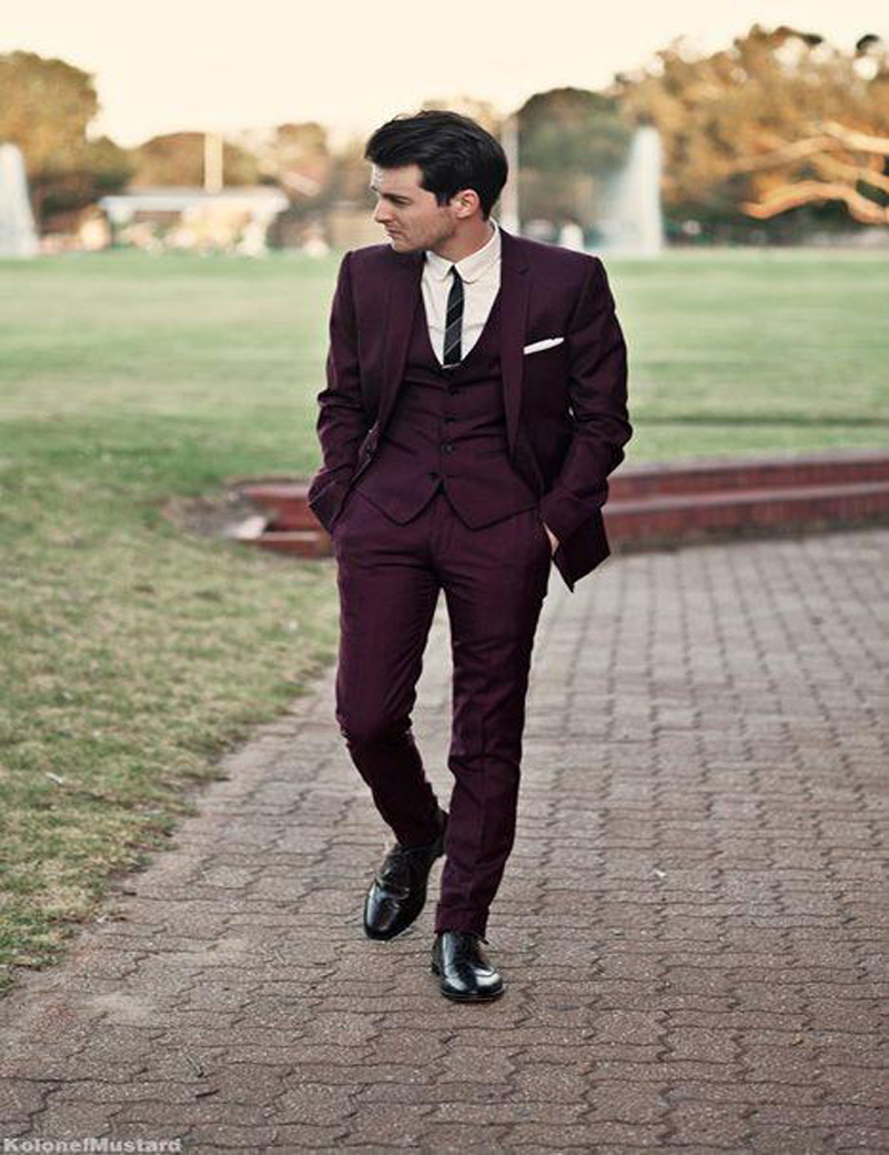 Online Buy Wholesale new slim burgundy and black suit for men from ...
