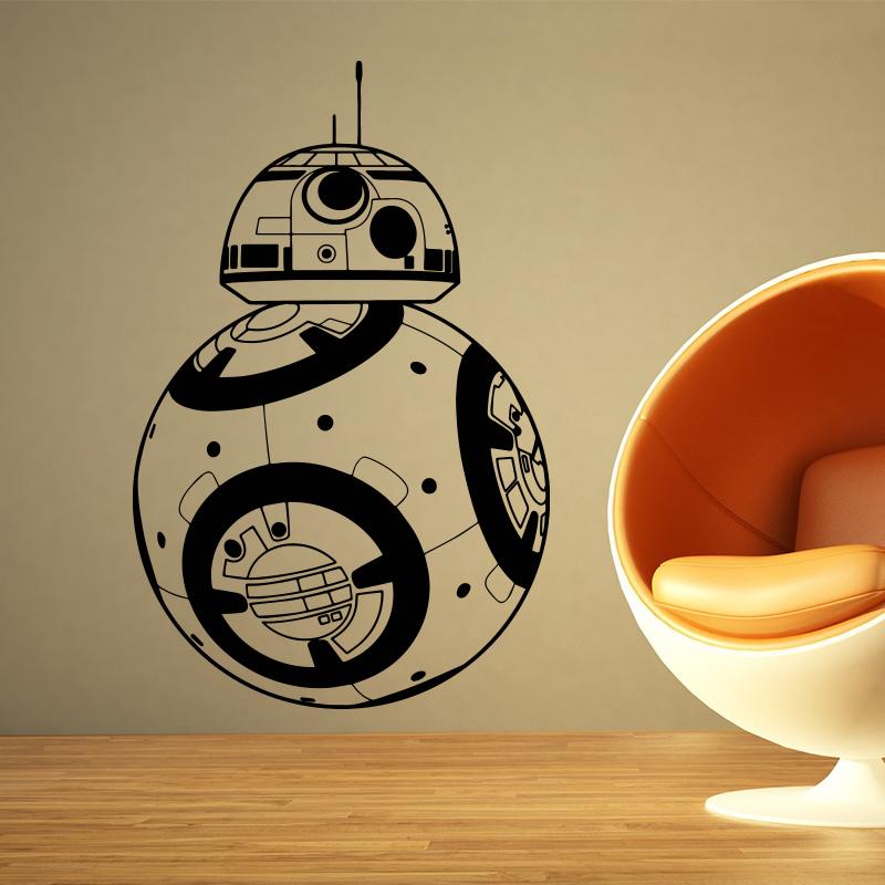 Star Wars BB-8 Wall Stickers Home decor Movie robot DIY 3D Vinyl Wall Decal Geek Gamer Removable Mural wallpaper Kids room(China (Mainland))