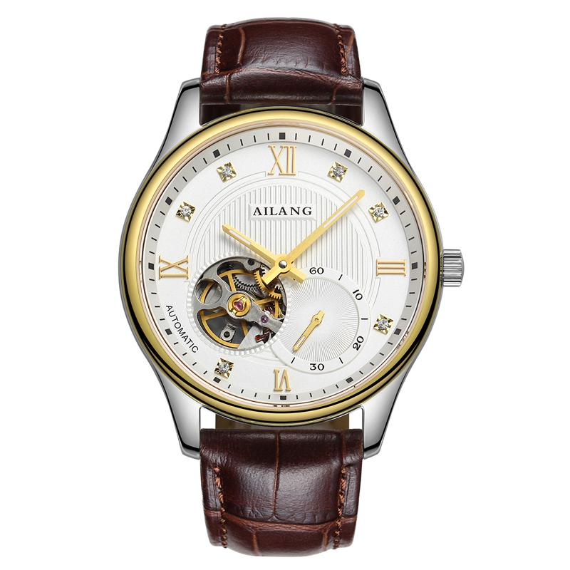 AILANG 6821 Switzerland watches men luxury brand automatic genuine hollow Tourbillon watch Leather white relogio masculino<br><br>Aliexpress