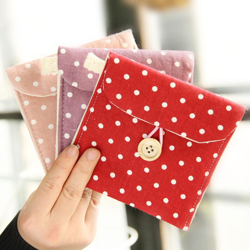 2015 Real Top Fashion Sundries Folding Organizador Free Shipping Brief Full Dots Sanitary Napkin Bags Towel Storage Bag K6449(China (Mainland))