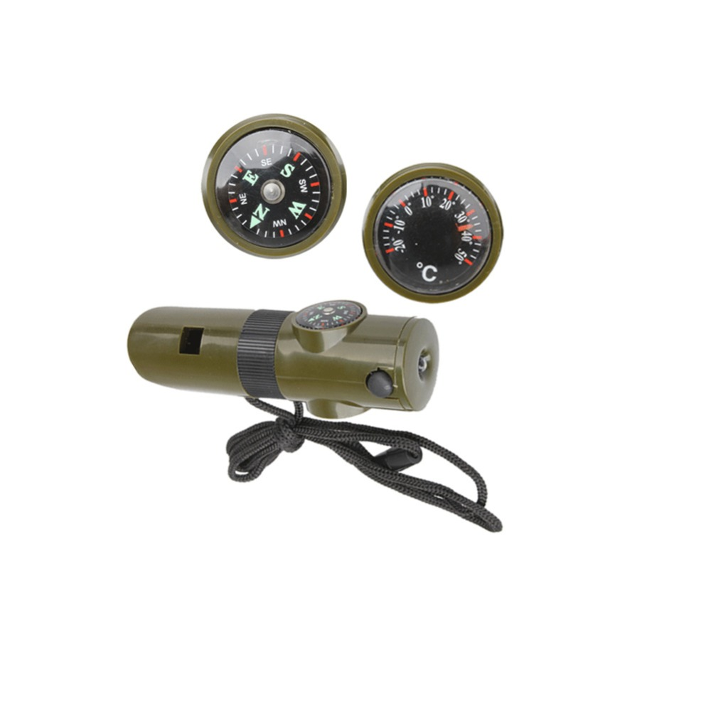 Factory Wholesale Oudoor Military Survival Whistle Portable EDC Tools Camping Compass With LED Light SS(China (Mainland))