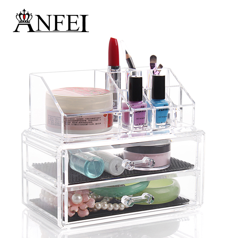 Cosmetic case Transparent crystal powder box/skin care products receive a case/desktop small items sorting box jewelry box(China (Mainland))