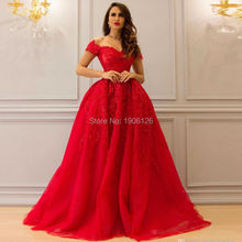 Long Red Evening Dress Ball Gown Lace Bling Evening Gowns Off The Shoulder Elegant Ladies Formal Wear Tulle Zipper Robe soiree(China (Mainland))