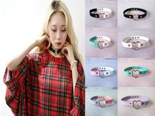 2014 Fashion Button Jewelry, sweet heart Necklace Punk Rock Harajuku 100% Handmade PU Leather Choker Collar Necklace