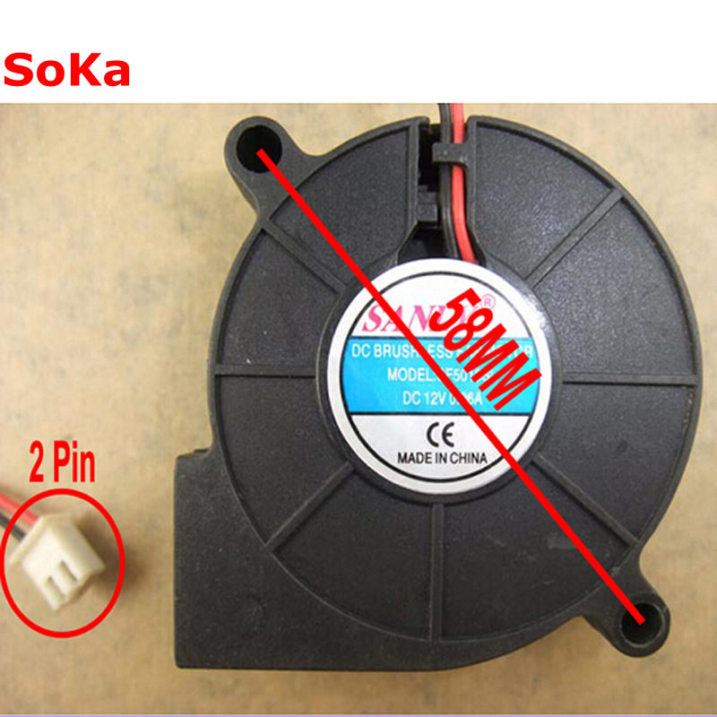 50MM DC Brushless Fan 12V 0.06A 2P Server Blower 5CM Cooler Fans 5015 50*50*15MM