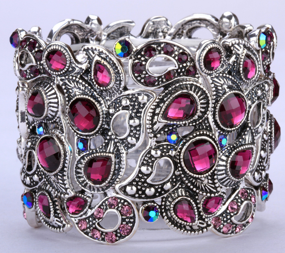 Floral stretch cuff chain bracelet for women vintage style summer crystal jewelry antique silver plated 10+ colors A3 wholesale(China (Mainland))