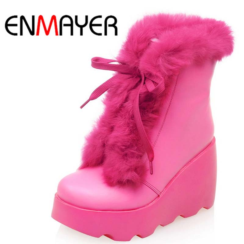 Фотография ENMAYER Size 34-39 Women Boots Winter Wedges Lace Up Ankle Boots Round Toe Fashion Fur Inside Warm Quality Snow Boots sale hot