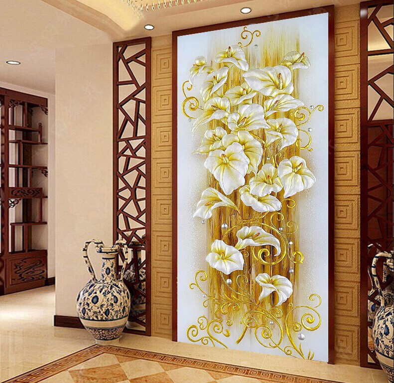 5D DIY diamond Painting crystal lily flower 3D Cross Stitch Decorative Needlework embroidery Full Round Rhinestone(China (Mainland))