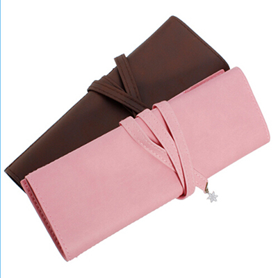 Coffe Pink Synthetic Leather Cosmetic Bag Quality Vintage Long Roll Makeup Bag Case Pen Pencil Stationery Organizer(China (Mainland))