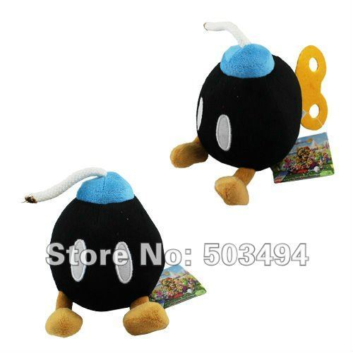 Free Shipping EMS 50PCS/Lot Super Mario Bros LOVELY BOB-OMB BOMB Cute Soft Plush Doll Toy Red 5'' Black bomb red bomb plush toy