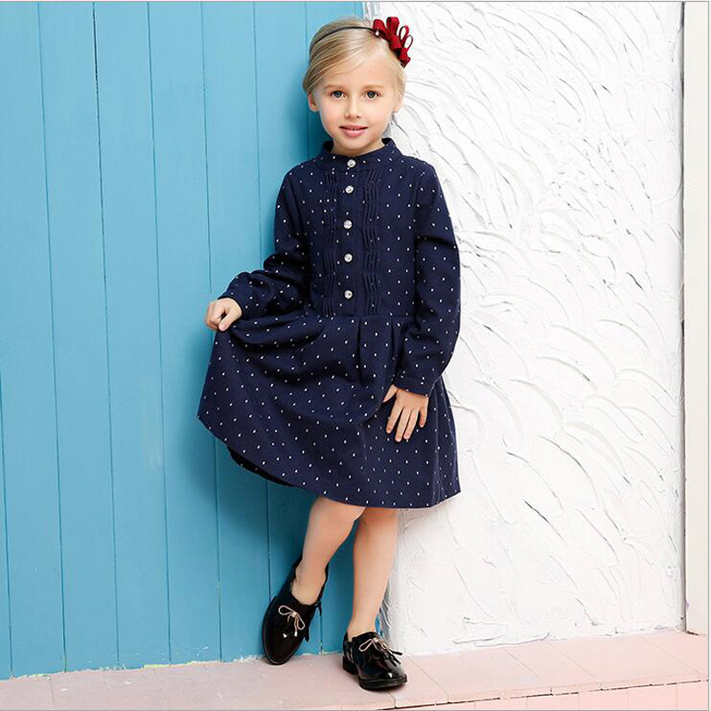 2016 New Spring Brand Dresses Girls Dress Cotton Kids Dresses For Girls Navy Dots dresses Fashion Cute Princess Costume for 4-7T<br><br>Aliexpress