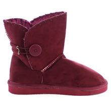 Linda de la mujer botón de piel sintética tobillo botas cortas nieve del invierno invierno botines punta redonda plana con zapatos de invierno(China (Mainland))
