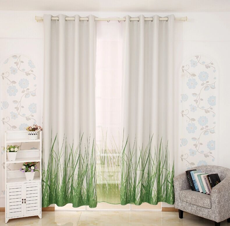 Free shipping 3 d 2015 luxury window curtain living room for Green modern curtains