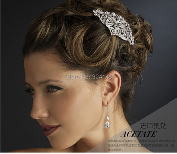 2015 Hot sale factory price Vintage crystal  wedding hair comb fashion bridal hair jewelry comb wholesale