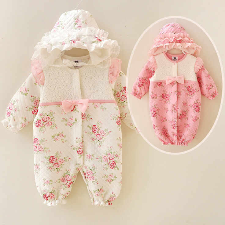 Newborn Romper Girl Dress Baby Onesies Children Clothes Kids Clothing Flower Jumpsuit Rompers Princess Lace Romper + Hat <br><br>Aliexpress