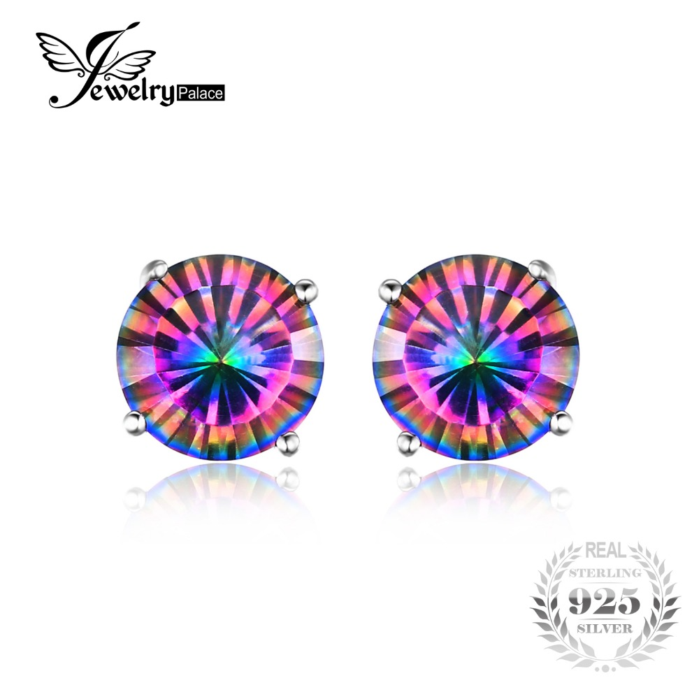 JewelryPalace 1.6ct Mystic Rainbow Topas Earrings Stud 925 Sterling Silver Jewelry Concave Round Women Earrings Brithday Gift(China (Mainland))