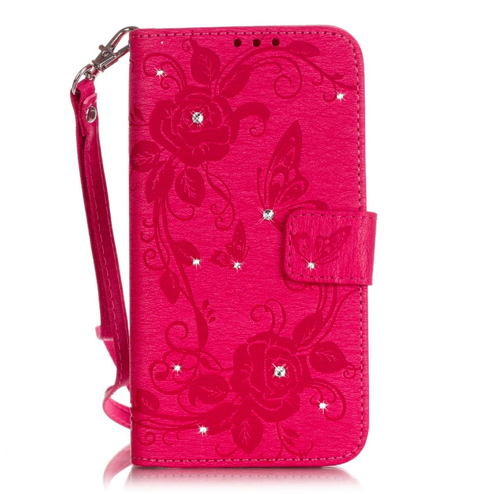 Y625 Case For Huawei Y625 Cover Diamond Bling Rose Butterfly Embossed Case Wallet Style Leather Case For Huawei Ascend Y625 Case(China (Mainland))