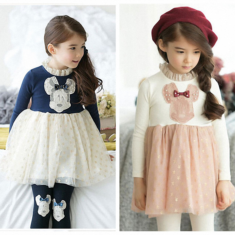 2T to 7T children girls long sleeve lace turtleneck star print tulle princess fall winter dresses kids fashion blue pink dress(China (Mainland))