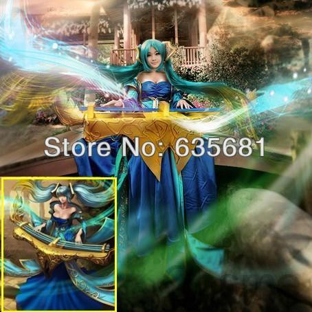 Cos LOL Maven of the Strings Sona Cosplay Costume Clothing Set Female LIPSY Tee Dress Strapless(China (Mainland))