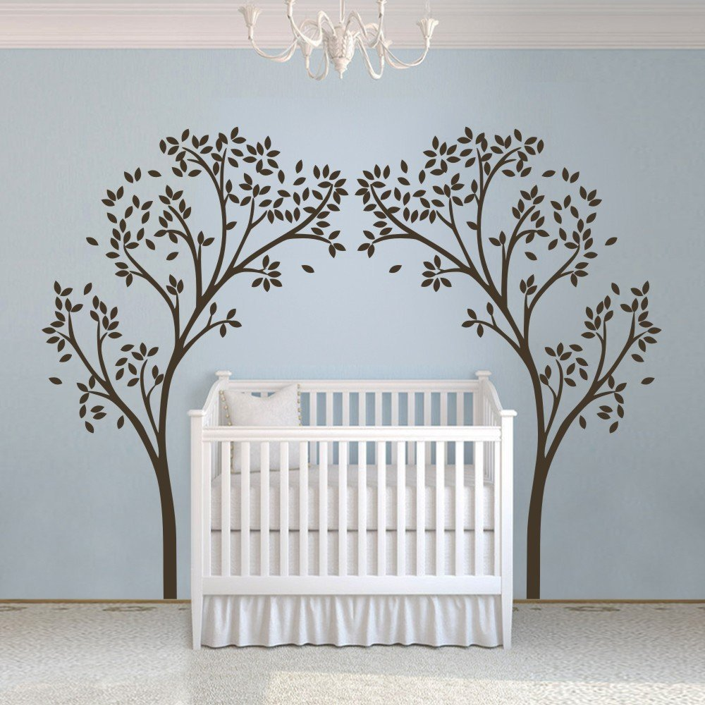 Vinyl Nursery Tree Sticker Tree Canopy Portal Wall Decal Tree Wall Graphic Wall Mural Home Wall Art Decoration White(China (Mainland))
