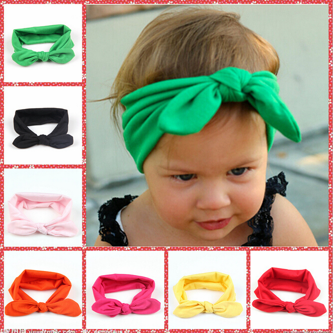 1pcs Baby Headband Girls Elastic Fabric Rabbit Ears Headbands Pure Color Cute Hairband Bows Band Hair Accessories(China (Mainland))
