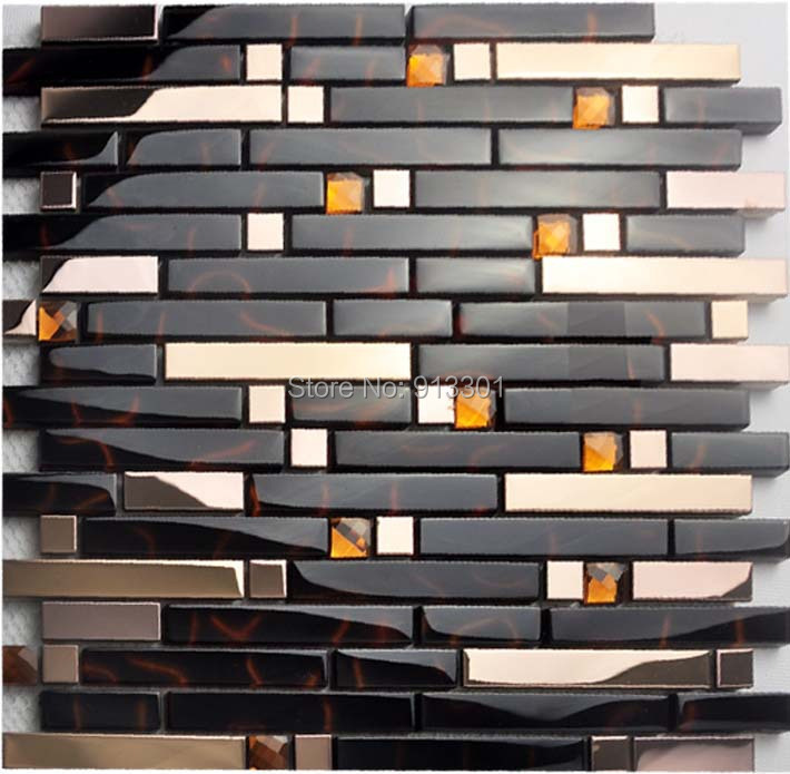 aliexpress com buy glass mixed metal tiles kitchen wall
