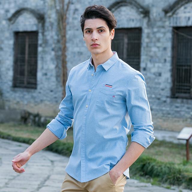 Пионерский Лагерь 2016 осень новая мода мужские рубашки синий тонкий 100% хлопок ...