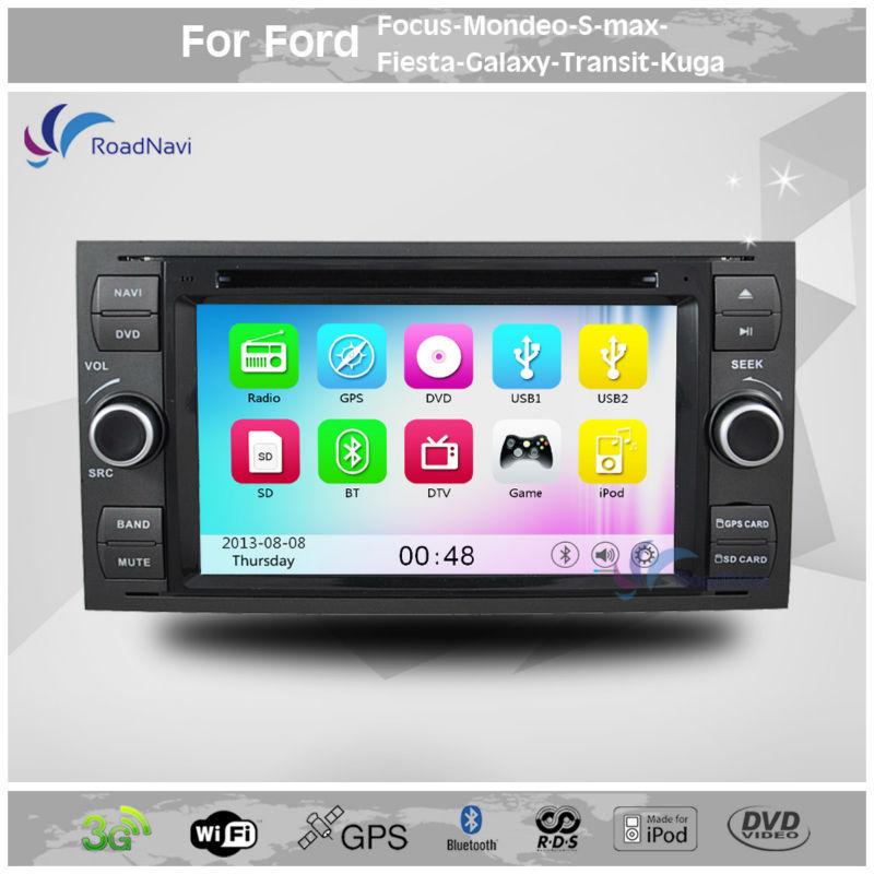 2 Din 7 Inch Car DVD player stereo GPS Navigation For FORD Focus 2 Mondeo S-MAX Connect Transit Kuga Fiesta Fusion Galaxy C-Max(China (Mainland))