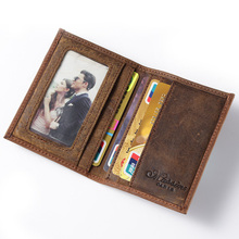 Free shipping hot sell Men Genuine Leather Wallet Business Casual Credit Card ID Holder money card holder brown K100(China (Mainland))