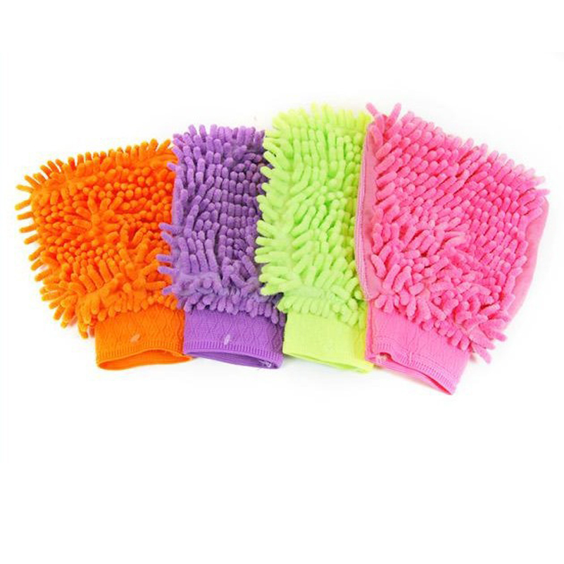 8x15cm Single-sided Chenille Mitt Gloves Car Wash Soft Thick Microfibre Cloth Mitt Cleaning Products Glass Window(China (Mainland))