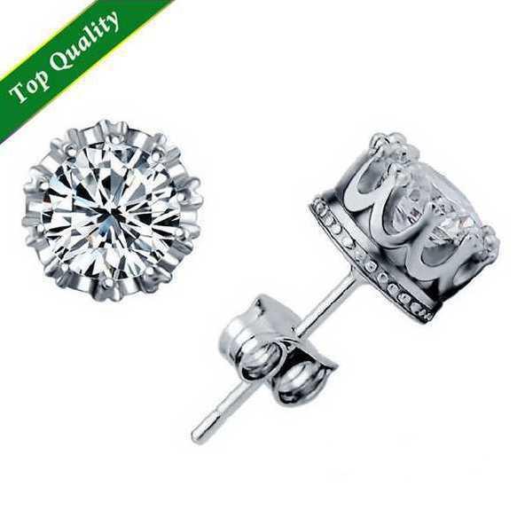 2015 Newest Stud Earings Fashion Jewelry Unisex Trendy Women/Men Crystal Earrings Crown Earring Piercing Gifts Wholesale E134(China (Mainland))