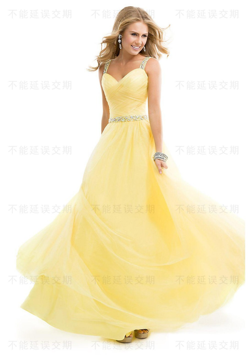 New fashion yellow sweetheart long prom dresses 2015 for Strapless and backless wedding dress