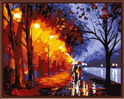 Frameless pictures Digital oil painting decorative pictures hand painted canvas painting by numbers 40*50 walking in rain G360(China (Mainland))