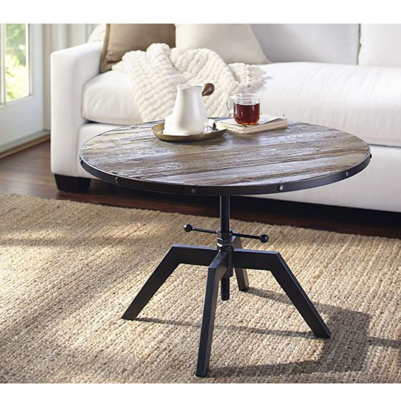 American retro wood color wood coffee table living room coffee table, wrought iron circular lift Cafe coffee table can be custom(China (Mainland))