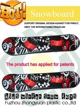 Free Shipping Hot Sale outdoor snow ski sledge products for kids---Plastic  Snowboard (Soft Footstraps 95CM/5PCS/CTN)