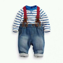 3M 3Y Baby Boy 2PCS Clothing Sets Striped T shirt Tops Jeans Bib Pants Overall Outfis