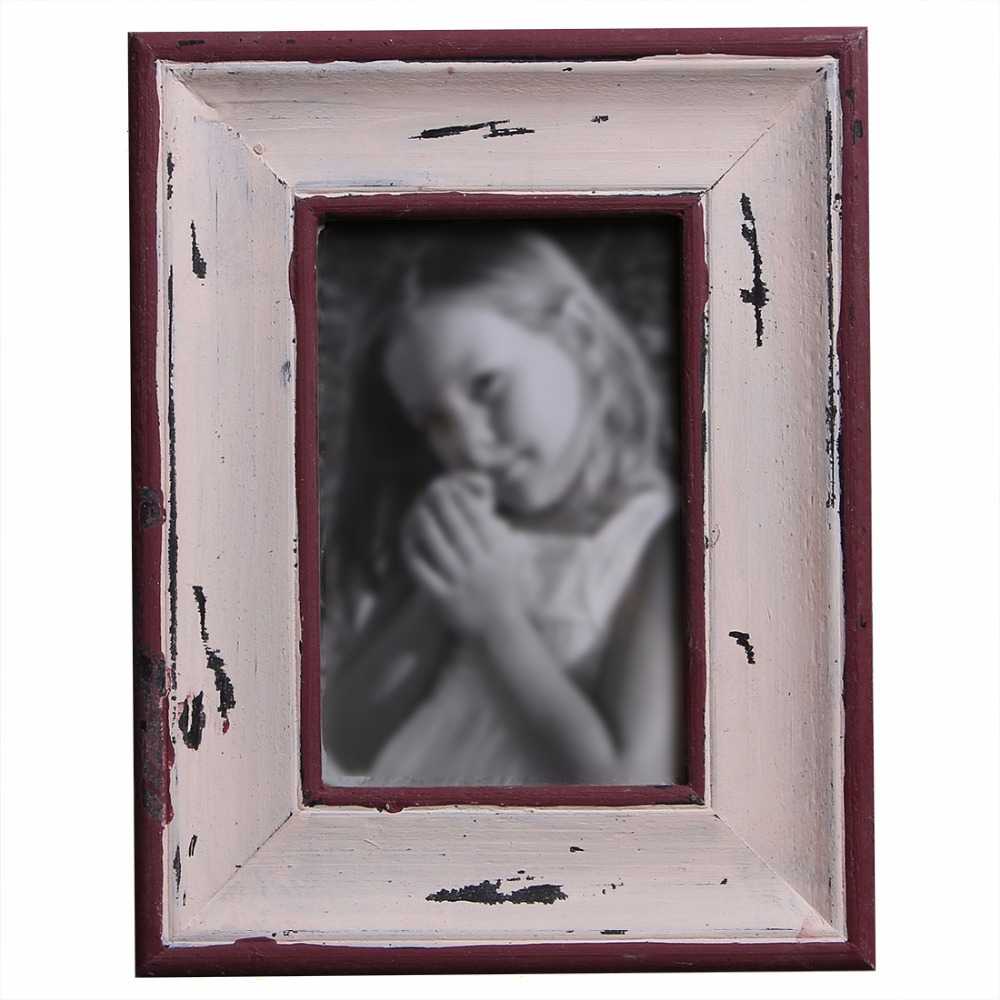 Creative Home Decor Retro Pine Material Square Rectangle Table Picture Photo Frame Green, Red, Blue Color Available(China (Mainland))