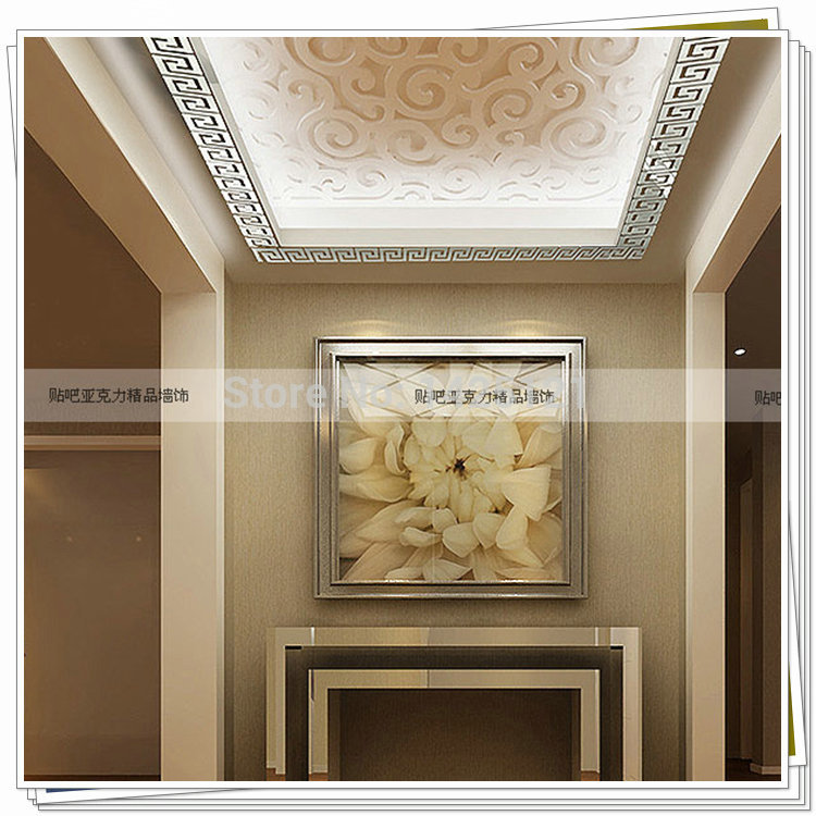 2014 Acrylic 3d stereoscopic mirror suspended ceiling decorative wall stickers waist baseboard home TV wall hangings decorative(China (Mainland))