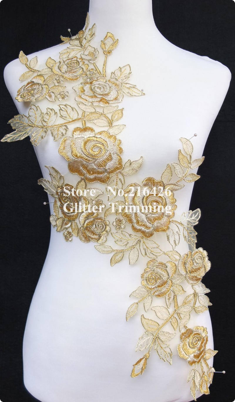 Gold embroidery applique makaroka